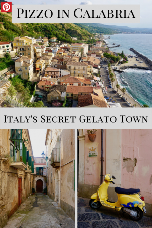 Pizzo Calabria, the picture-perfect hillside town that's famous for its gelato but still feels like a hidden gem. Find out why you must visit and try the tartufo (chocolate truffle ice-cream) #hiddengemsinitaly #pizzocalabria #pizzocalabro #bestgelatoinitaly #thingstodoincalabria #vacationinitaly #tartufotown
