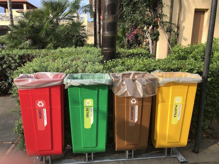 recycling bins at tui