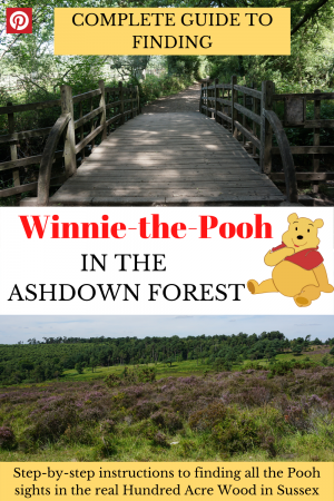 How to find Winnie the Pooh in the Ashdown Forest in Sussex, UK, the real Hundred Acre Wood. Detailed walking guide to Pooh Bridge, Owl's House, Heffalump Trap, Pooh's house and the Enchanting Places. #winniethepoohasdownforest #poohwalkashdownforest #hundredacrewood #poohbridge #familytraveluk #childrensbooklocations #poohwalk #poohforest